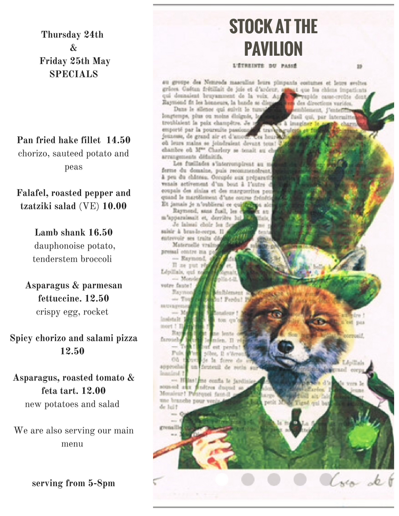 specials thursday and friday 25th may